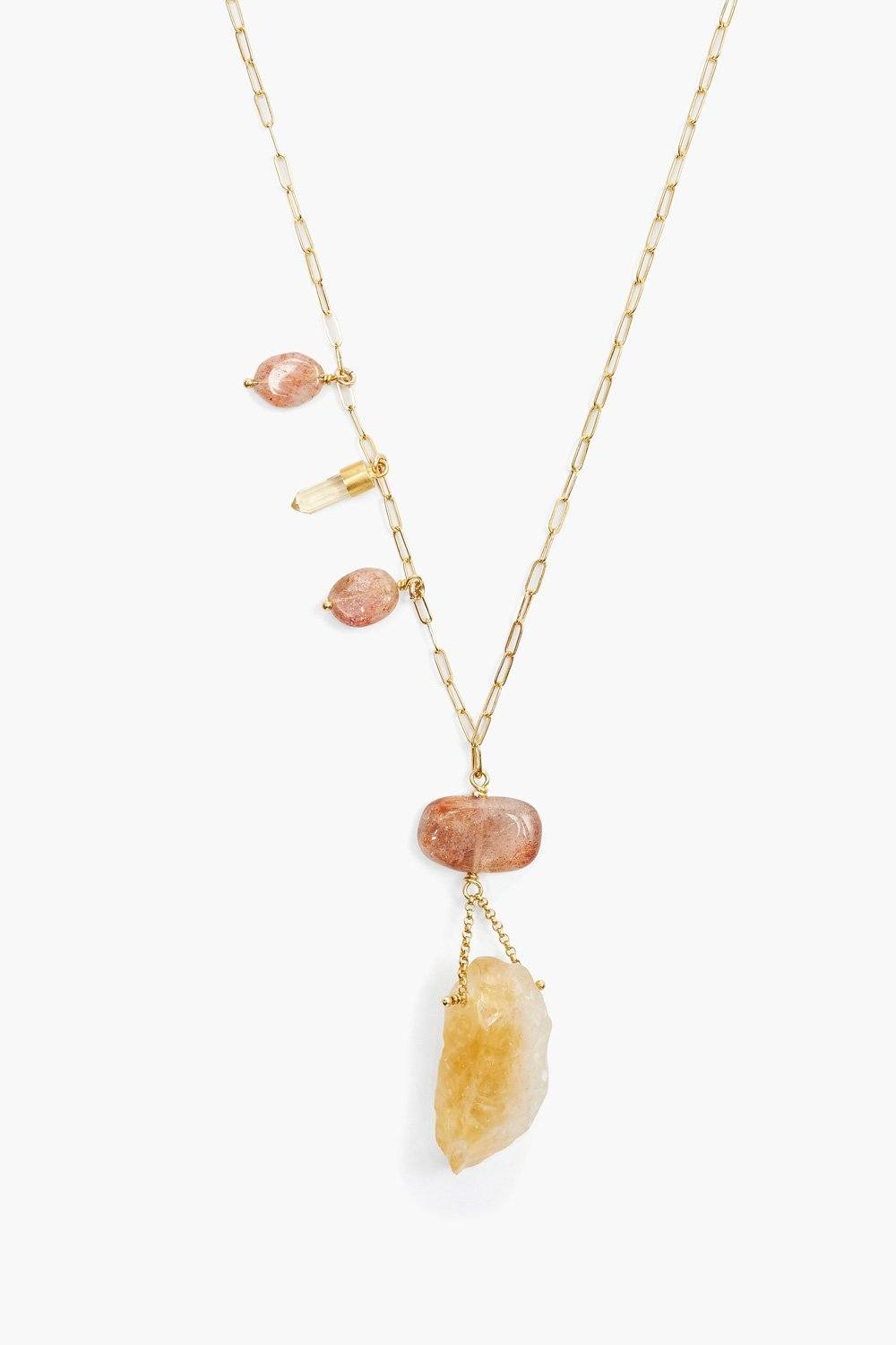 Citrine Mix Healing Stone Pendant Necklace
