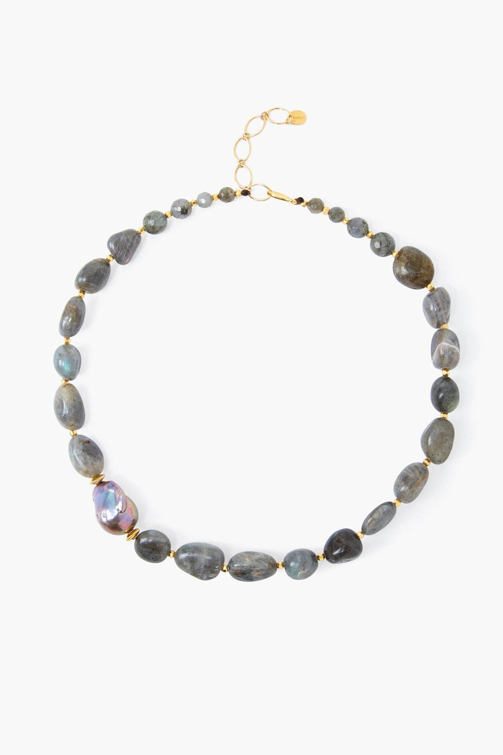 Labradorite and Baroque Pearl Graduated Necklace