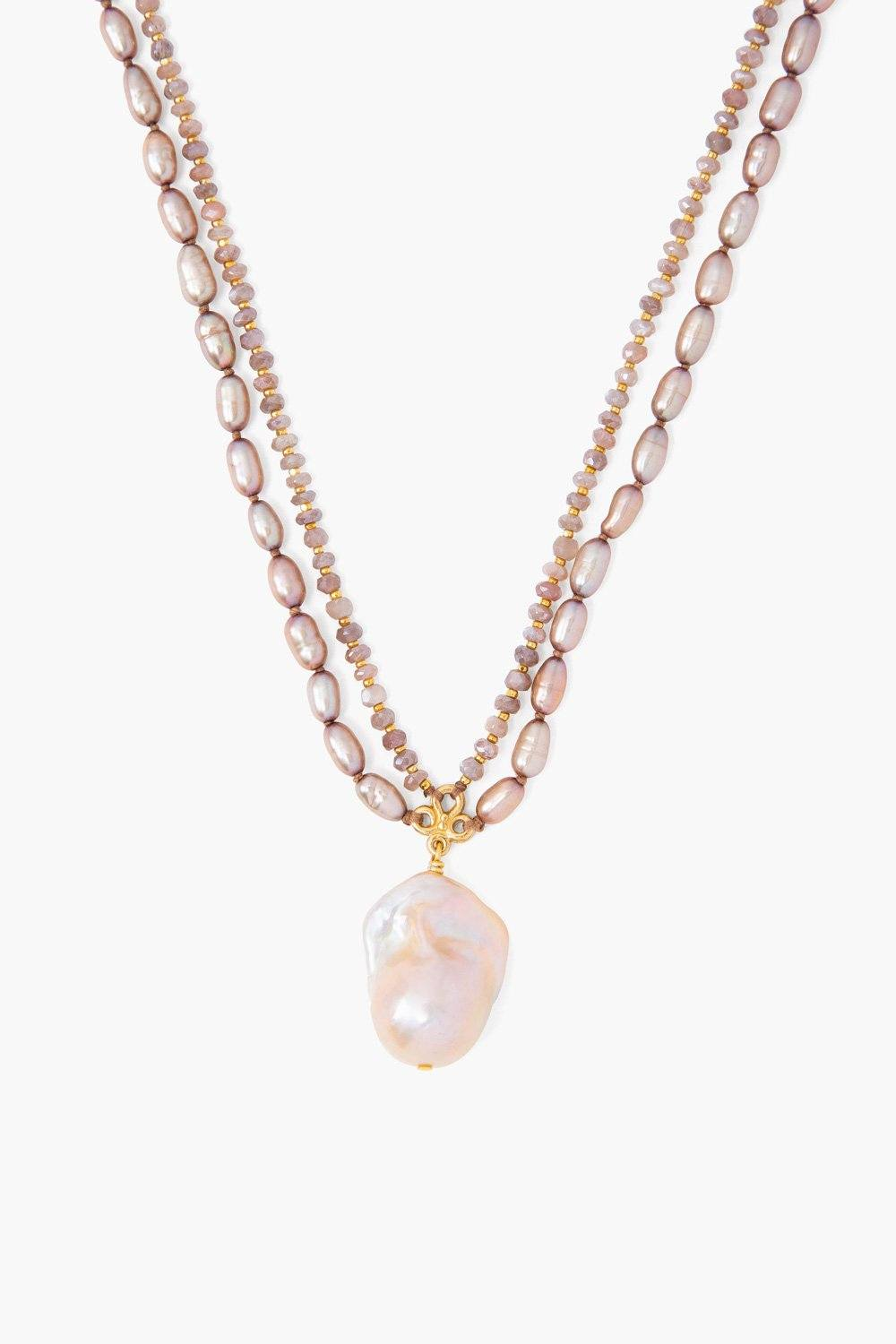 Taupe Pearl Mix Baroque Pendant Necklace