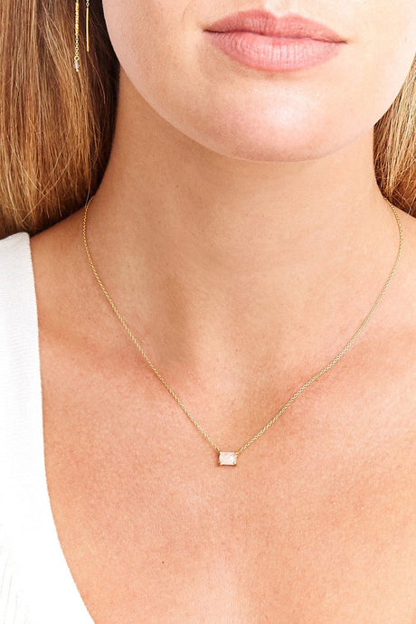 Moonstone Healing Stone Tab Necklace