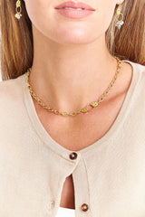 Lemon Topaz Mano Chain Necklace