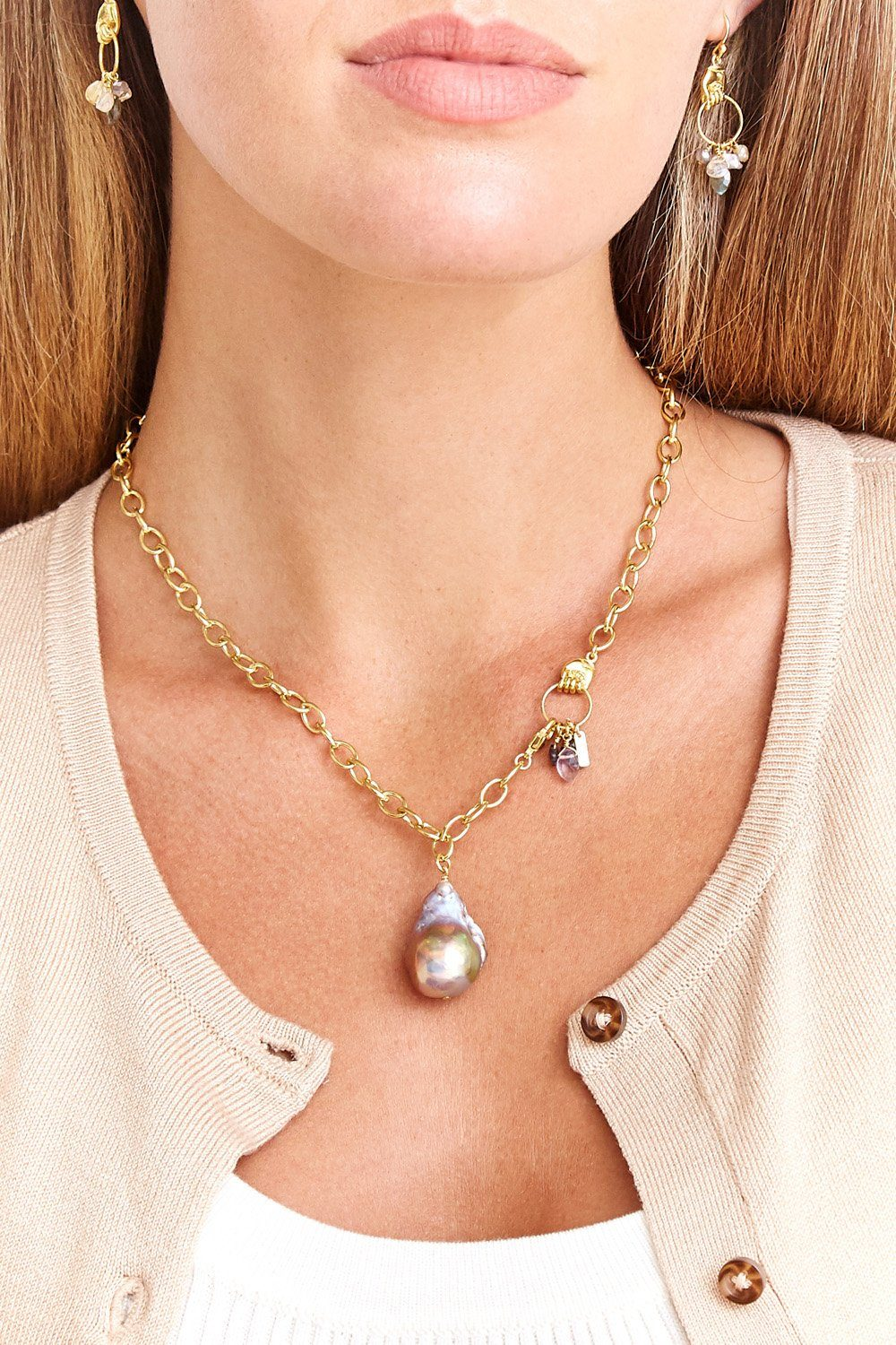 Blue Sapphire Mano Baroque Pearl Necklace