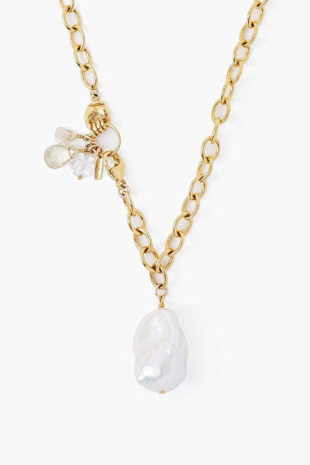 Lemon Topaz Mano Baroque Pearl Necklace