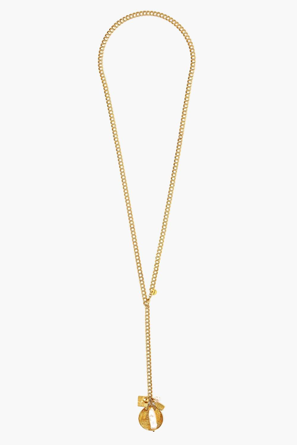 White Pearl Mix Gold Charm Lariat Necklace