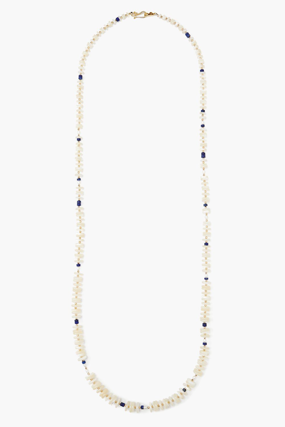 Lapis and White Pearl Mix Necklace
