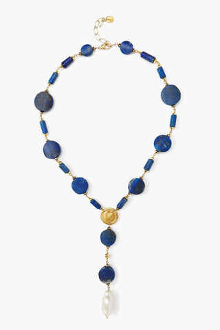 Lapis and White Pearl Lariat Necklace