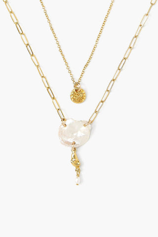 White Pearl Layered Gold Necklace