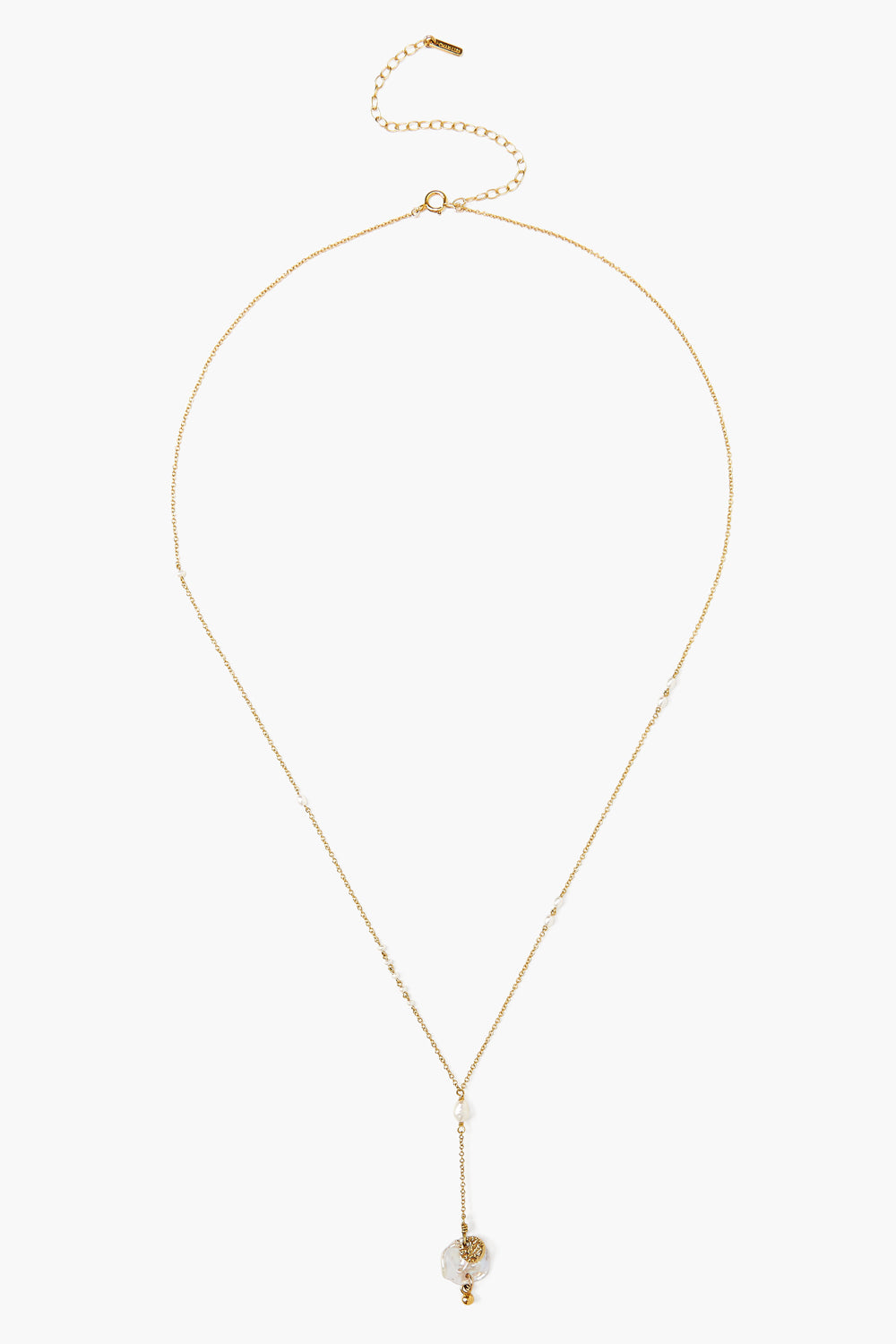 White Pearl Chip Gold Lariat Necklace