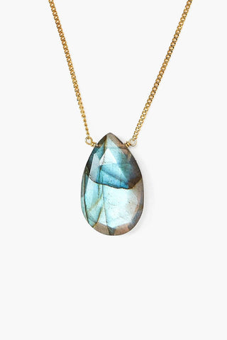 Labradorite Teardrop Pendant Necklace