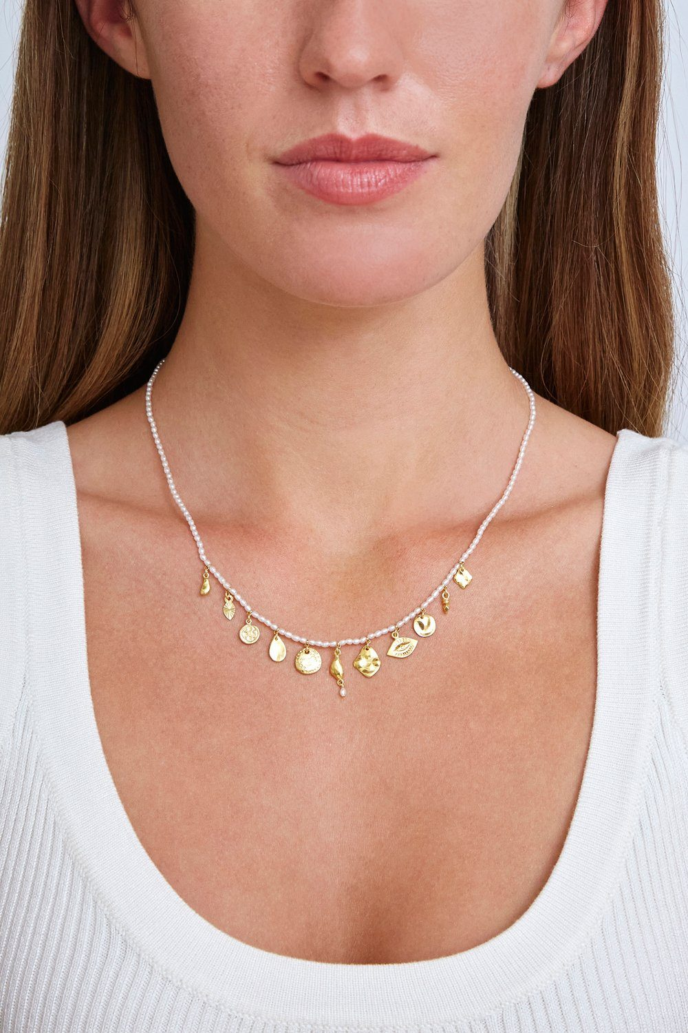 White Pearl and Gold Charm Necklace
