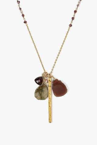 Gold Bar and Garnet Mix Necklace