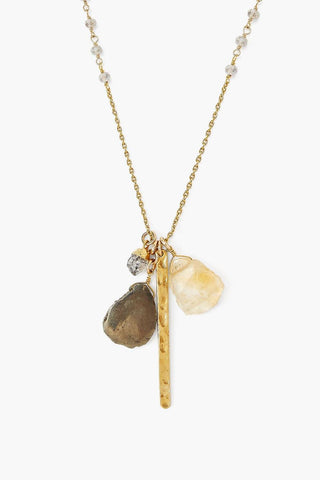 Gold Bar and Mystic Labradorite Necklace