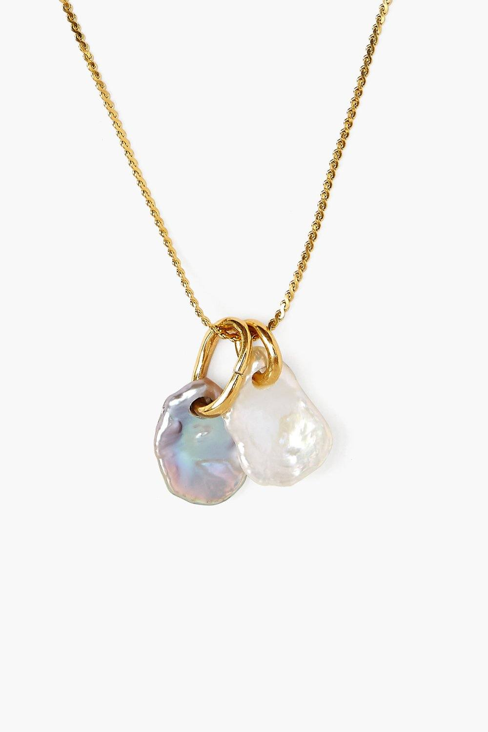 Double Pearl Gold Pendant Necklace