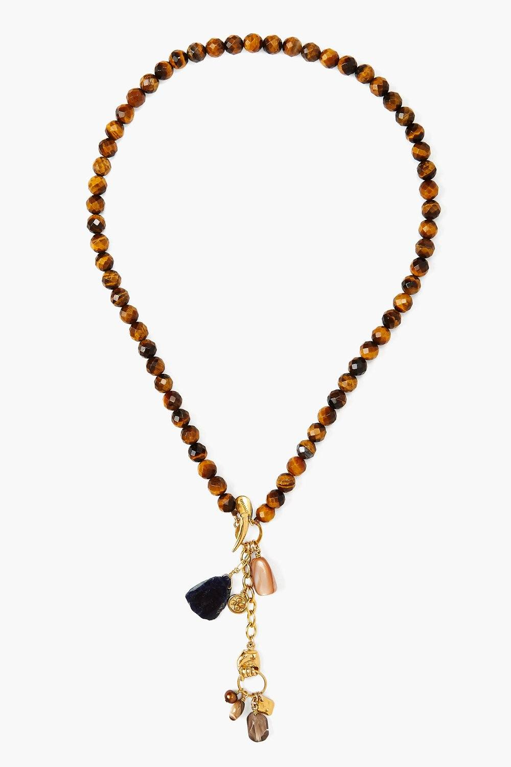 Tiger's Eye Mix Mano Lariat Necklace