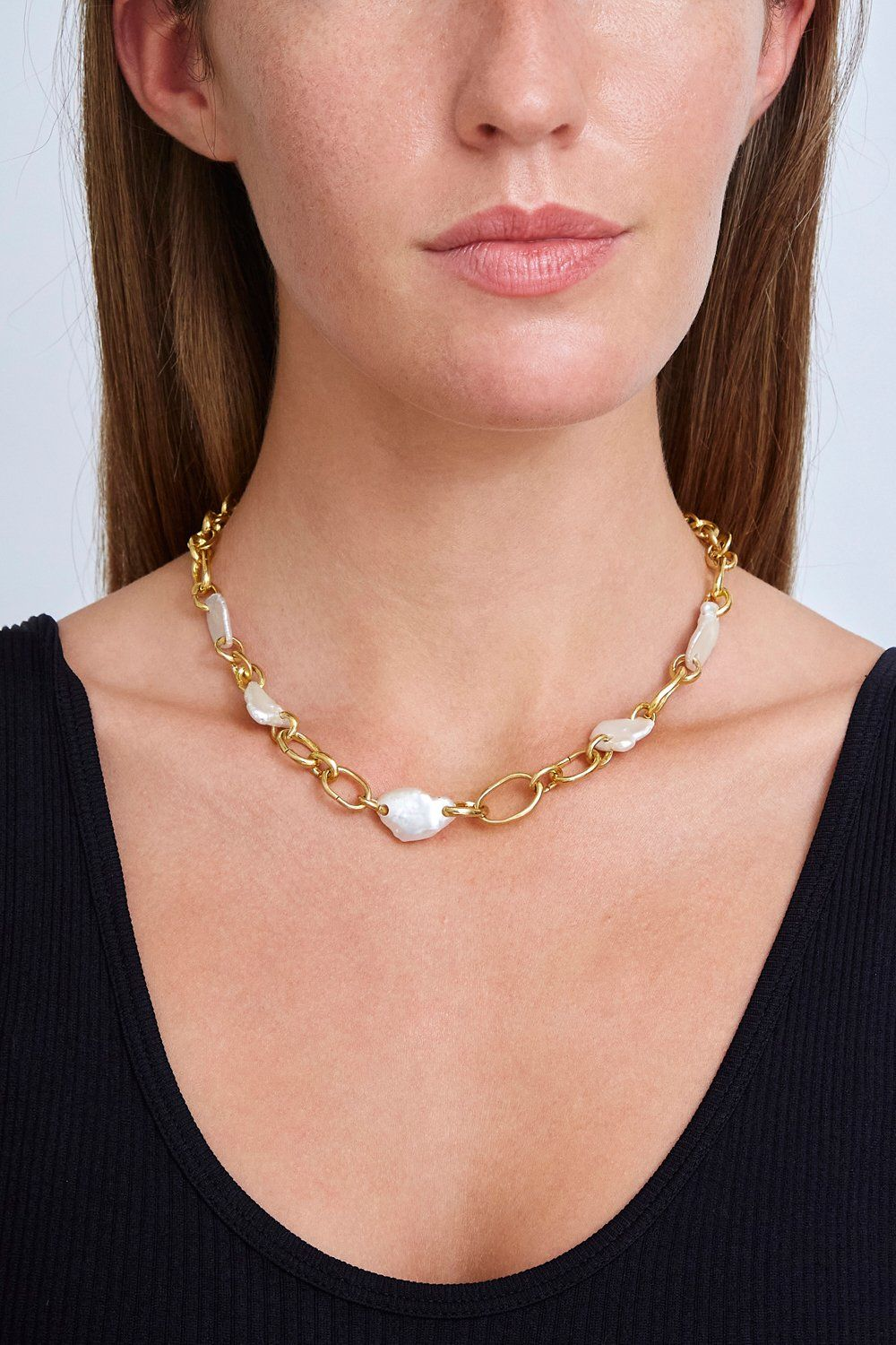 White Pearl Gold Chain Link Necklace