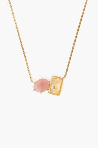 Peach Quartz and Citrine Healing Stone Duo Necklace