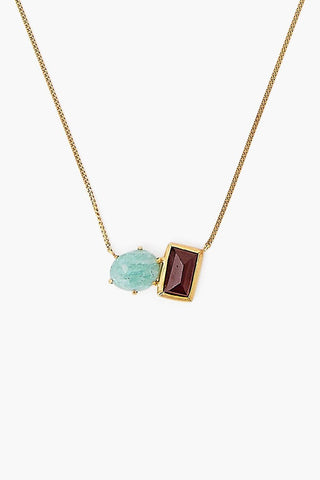 Amazonite and Garnet Healing Stone Duo Necklace