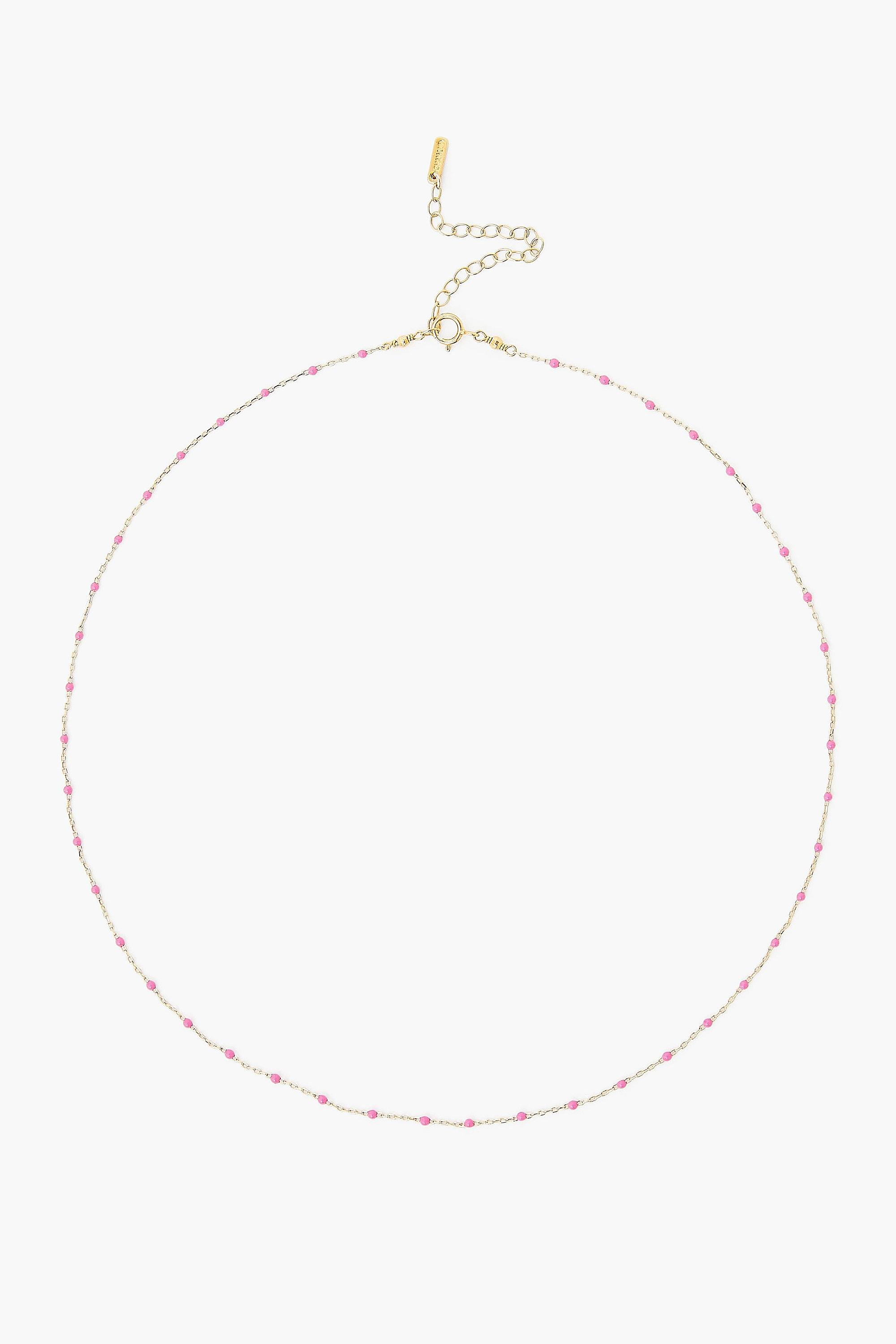 Pink Rose Enamel Bead Necklace