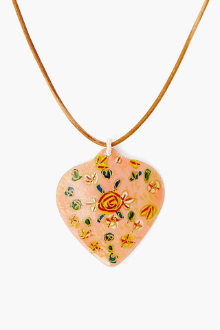 Peach Hand Painted Shell Necklace
