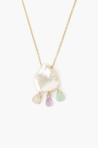 White Keshi Pearl Mix Chandelier Necklace