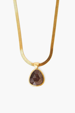 Black Sunstone Pendant on Gold Herringbone Chain Necklace
