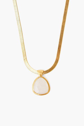 Moonstone Pendant on Gold Herringbone Chain Necklace