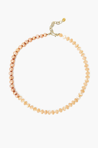 Mother of Pearl and Champagne Pearl Color Block Necklace