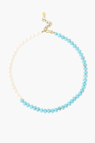 Turquoise and White Pearl Color Block Necklace