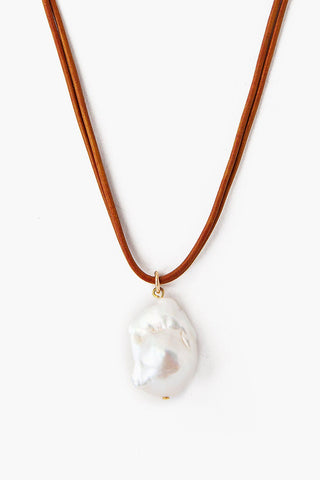 White Baroque Pearl on Leather Cord Necklace