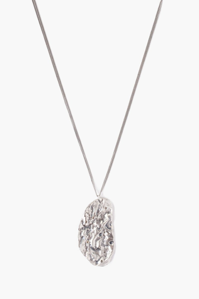 Silver Hammered Diamond Pendant Necklace