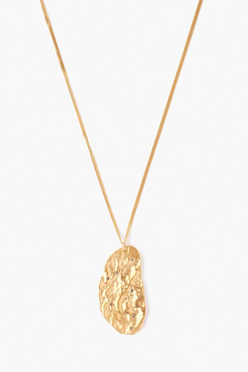 Yellow Gold Hammered Diamond Pendant Necklace