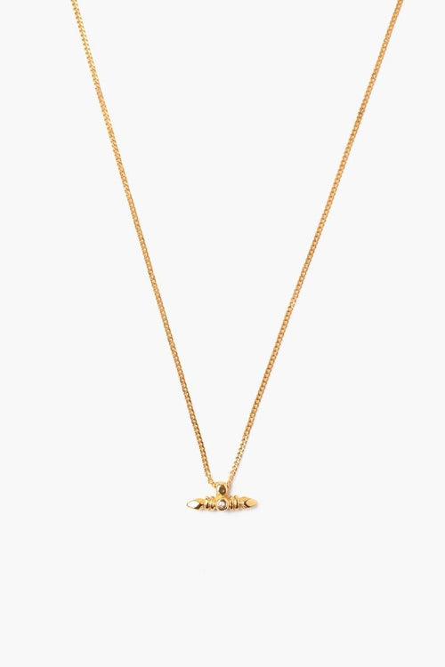 Yellow Gold Bullet Necklace With Champagne Diamond