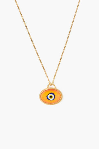 Orange Grand Evil Eye Pendant Necklace