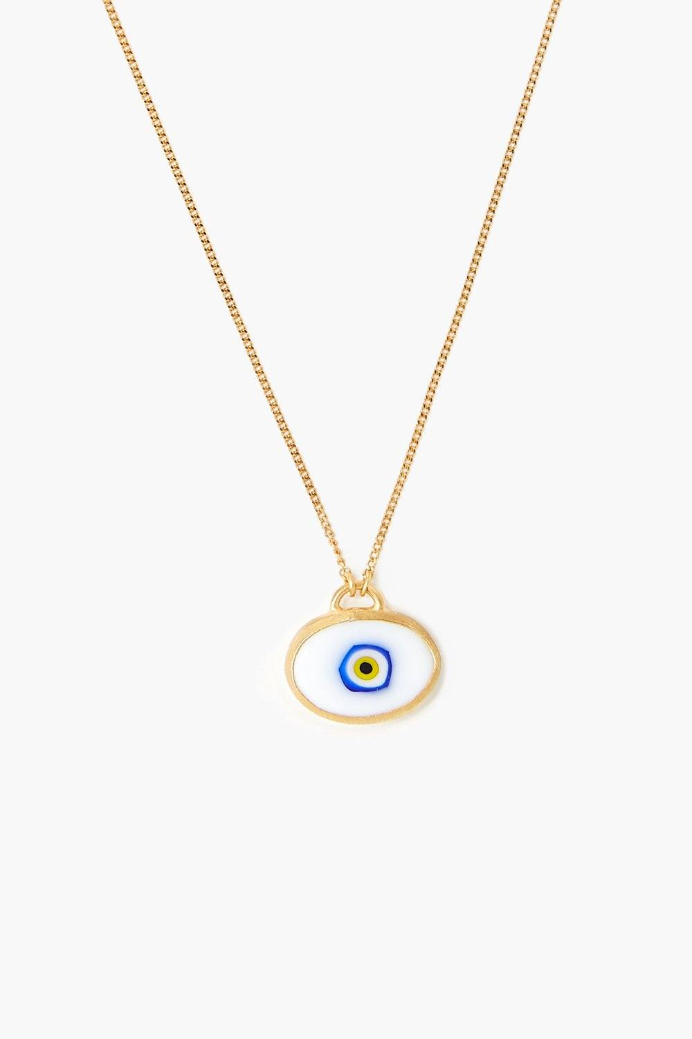 White Grand Evil Eye Pendant Necklace