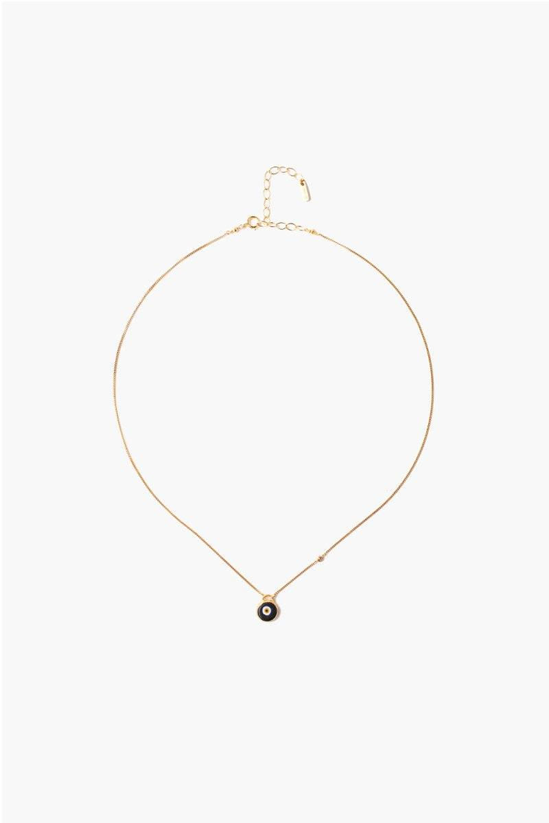 Black Evil Eye Necklace With Champagne Diamond