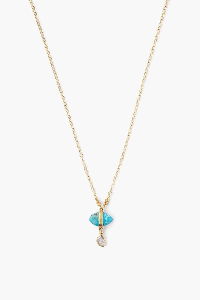 74b1ce532f9 Turquoise Evil Eye and Sliced Diamond Charm Necklace – Chan Luu