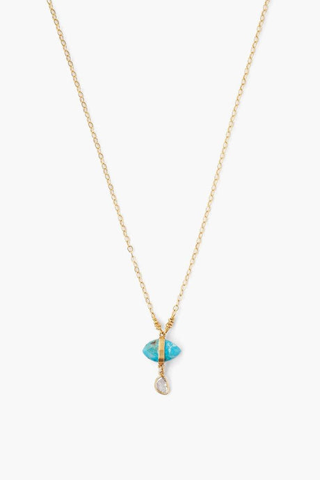 Turquoise Evil Eye and Sliced Diamond Charm Necklace