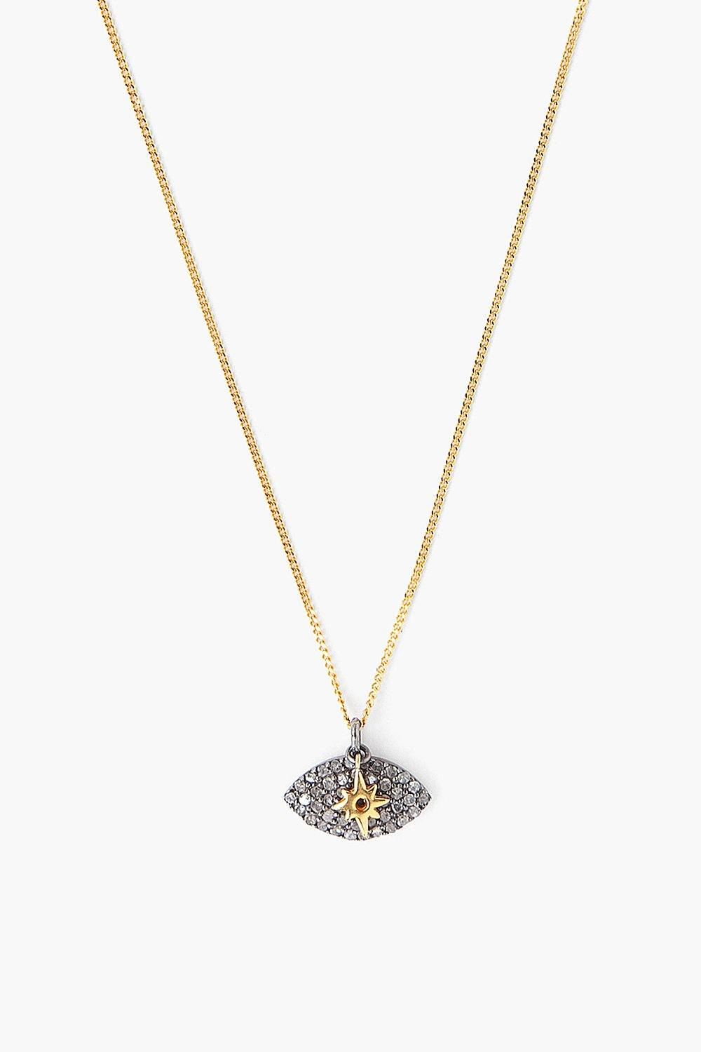 Diamond Pavé Evil Eye Pendant Necklace