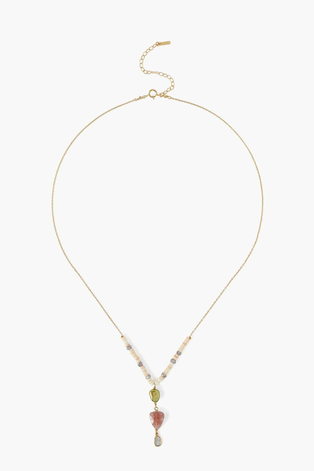 Green Pearl Mix Sliced Diamond Lariat Necklace