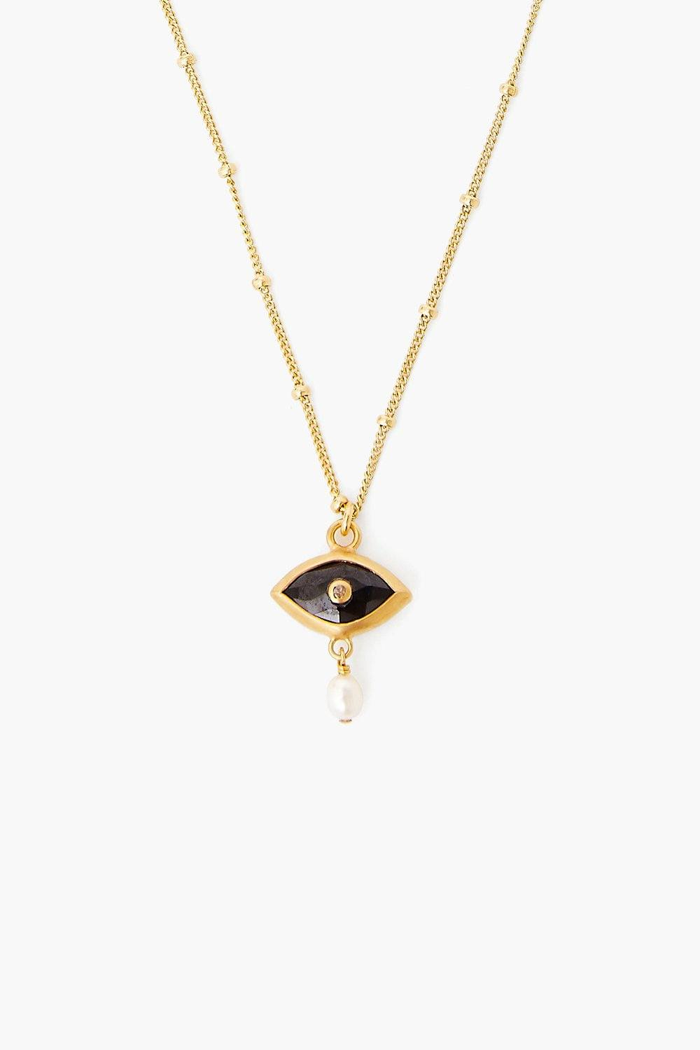 Pearl and Black Spinel Evil Eye with Diamond Necklace