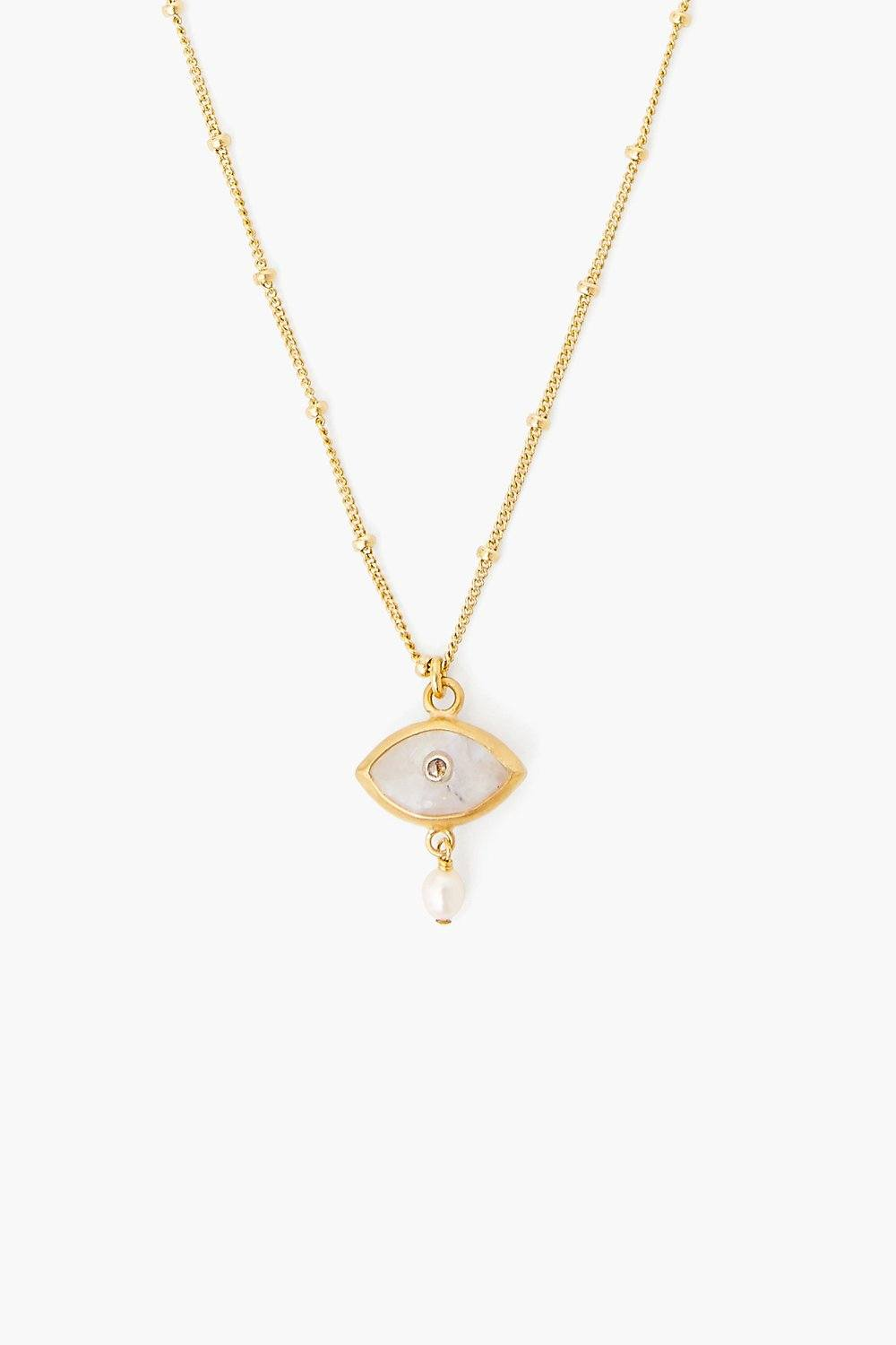 Pearl and Rainbow Moonstone Evil Eye with Diamond Necklace
