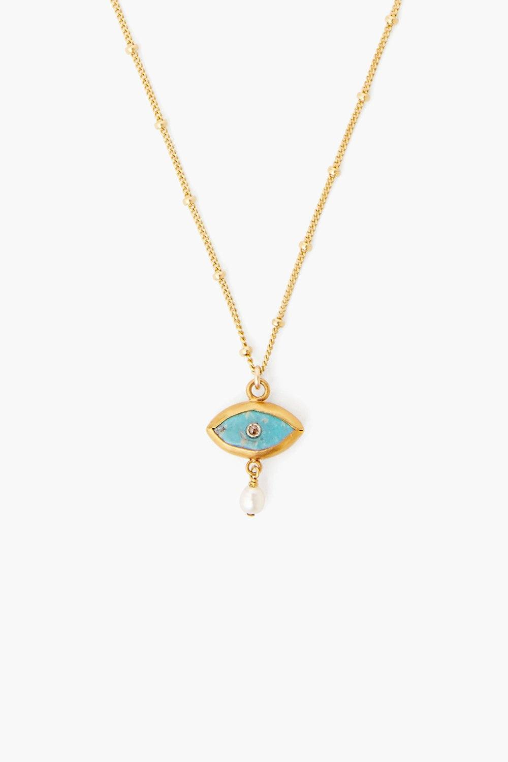 Pearl and Turquoise Evil Eye with Diamond Necklace