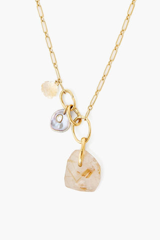 Rutilated Quartz and Slice Diamond Voyage Necklace