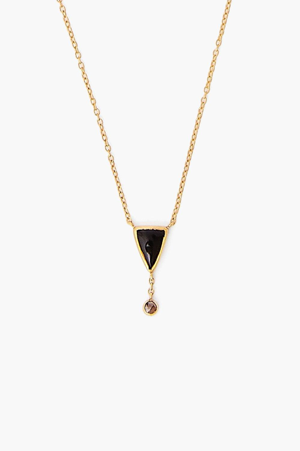 Black Agate Chip and Champagne Diamond Necklace