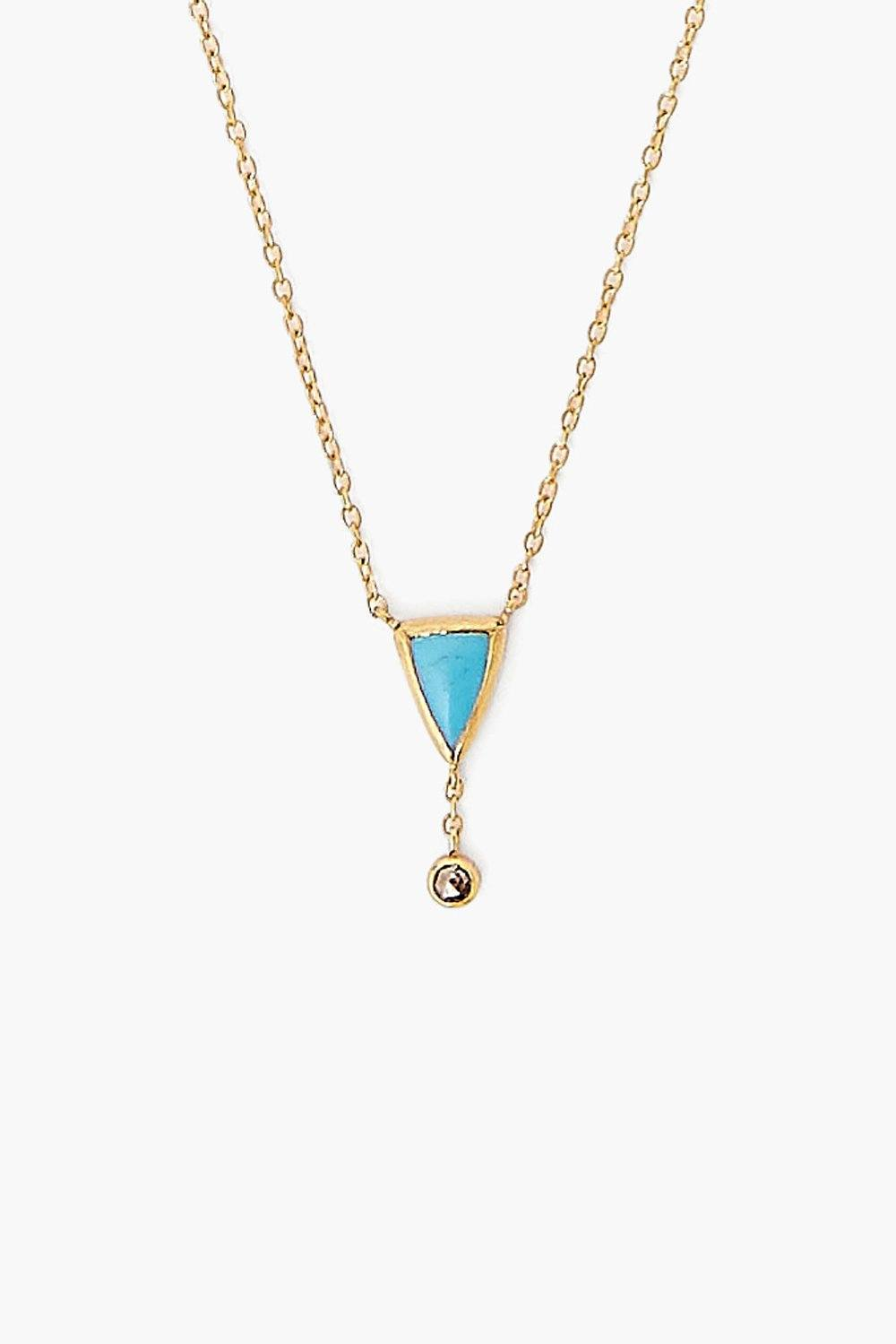Turquoise Chip and Champagne Diamond Necklace