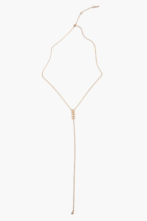Champagne Diamond Gold Lariat Necklace
