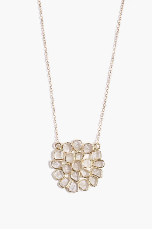 Sliced Champagne Diamond Flower Pendant Necklace