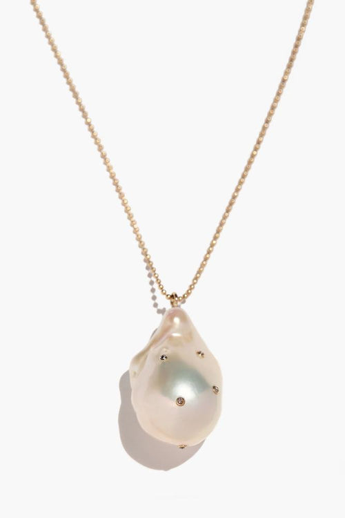 Champagne Diamond Freshwater Pearl Layering Pendant Necklace