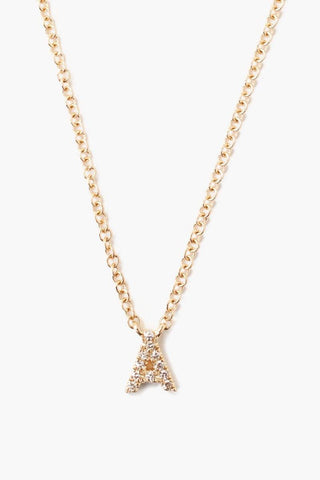 14k Gold and White Diamond Initial Necklace