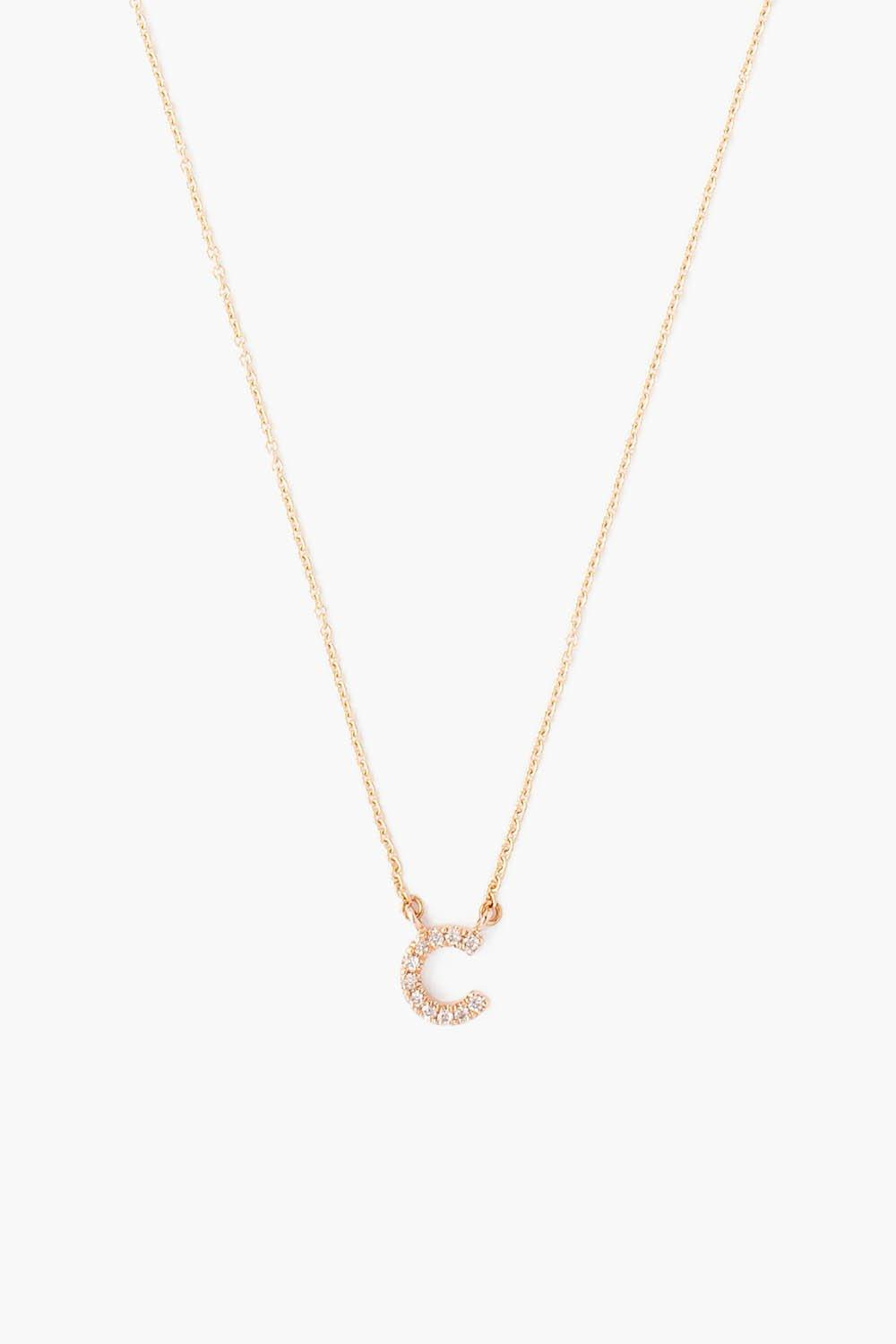 Rose Gold Diamond Initial Necklace